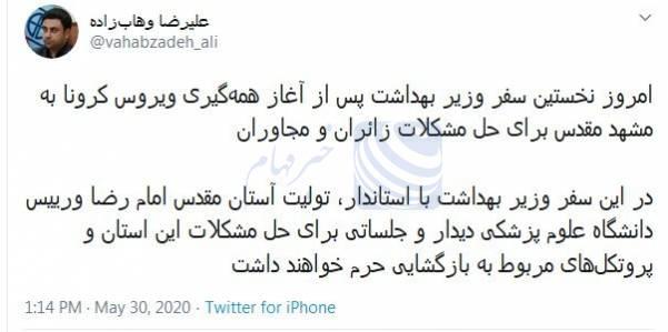 مشاور وزیر بهداشت: وزیر برای حل مشکلات زائران  به مشهد مقدس سفر میکند