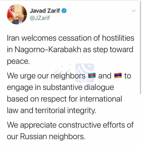 استقبال ایران از آتش بس در قره باغ